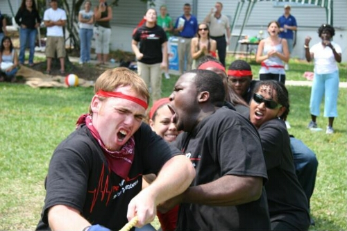 Red Team Feels Pain During Tug-of-war